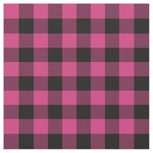 Bright Pink Buffalo Check Plaid Fabric