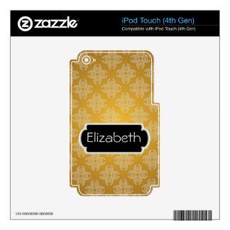 Bright Pink Burst Pattern Monogram MP3 Skin iPod Touch 4G Skins