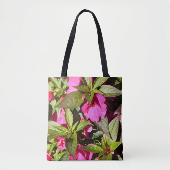 Bright Pink Busy Lizzie Flowers Tote Bag