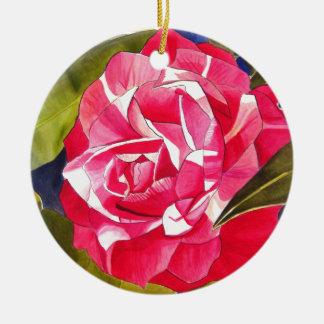 Bright pink Camellia watercolor art flower Ceramic Ornament
