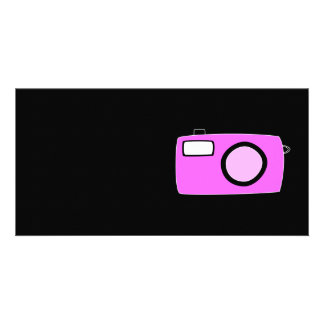 Bright Pink Camera. On Black. Card
