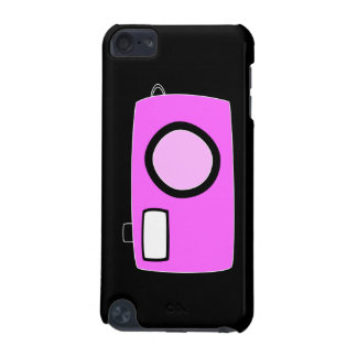 Bright Pink Camera On Black iPod Touch (5th Generation) Cover