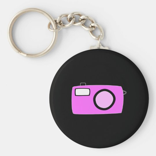 Bright Pink Camera. On Black. Keychain
