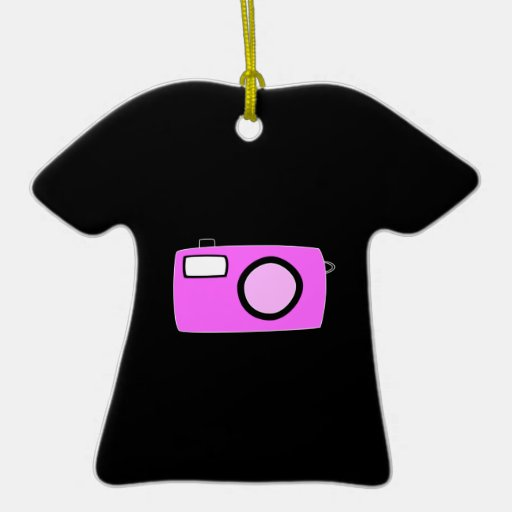 Bright Pink Camera. On Black. Double-Sided T-Shirt Ceramic Christmas Ornament