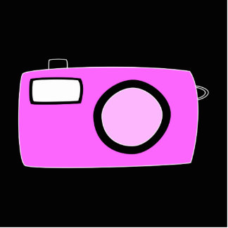 Bright Pink Camera. On Black. Photo Sculpture Button