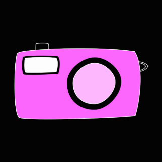 Bright Pink Camera. On Black. Standing Photo Sculpture