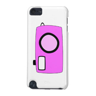 Bright Pink Camera On White iPod Touch (5th Generation) Case