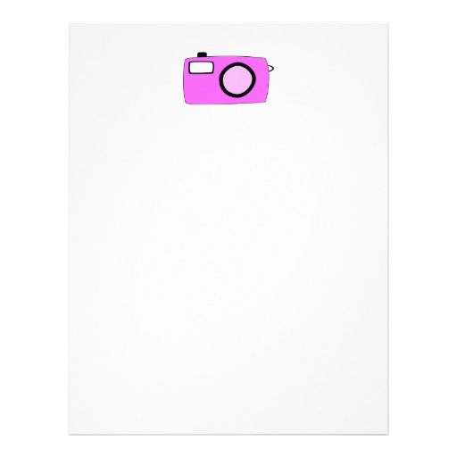 Bright Pink Camera. On White. Letterhead Template