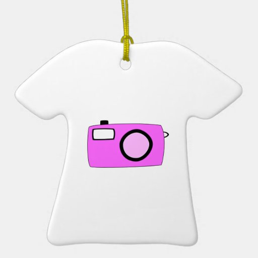Bright Pink Camera. On White. Christmas Tree Ornament