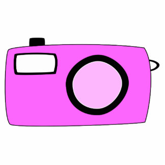 Bright Pink Camera. On White. Standing Photo Sculpture
