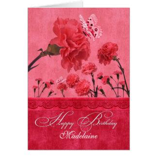 Bright Pink Carnation Garden Birthday Card