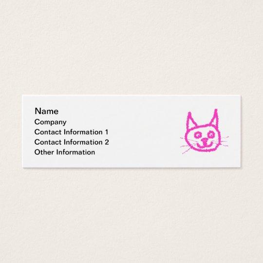 Bright Pink Cat Mini Business Card