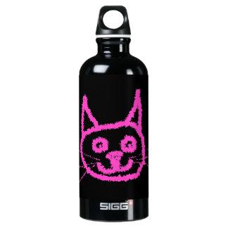 Bright Pink Cat on Black. Aluminum Water Bottle