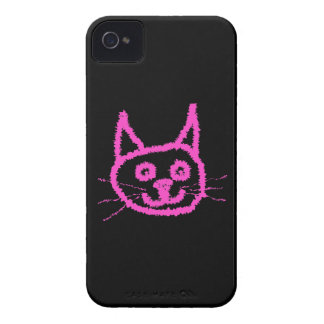 Bright Pink Cat on Black. Case-Mate iPhone 4 Cases