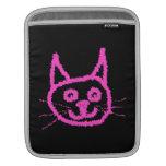 Bright Pink Cat on Black. iPad Sleeves