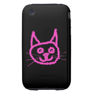 Bright Pink Cat on Black. Tough iPhone 3 Covers