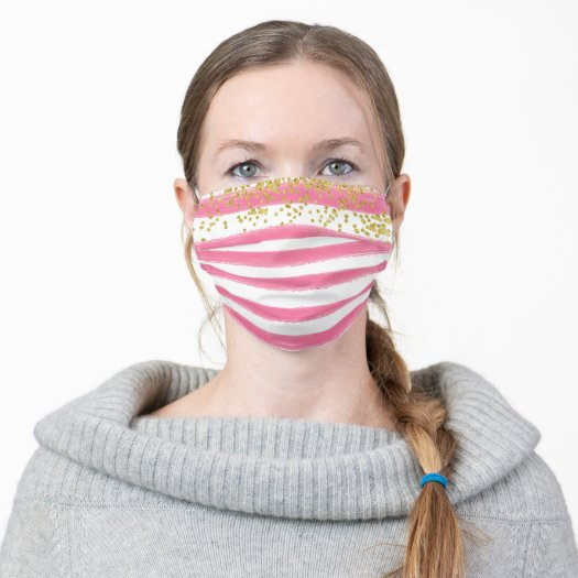 girly Face mask in Pink and whitel Stripes pattern with Gold confetti dot Accents