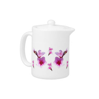Bright Pink Cherry Blossoms Teapot