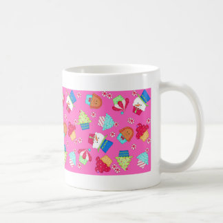 Bright Pink Christmas Cupcake Art Beverage Coffee Mug