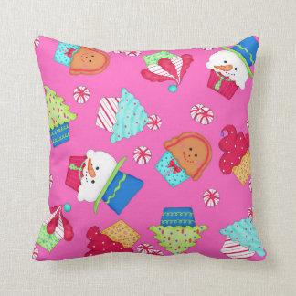 Bright Pink Christmas Cupcake Art Home Decorating Throw Pillow