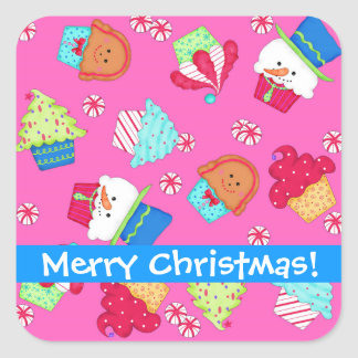 Bright Pink Christmas Cupcake Art Merry Christmas Square Sticker