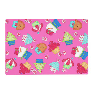 Bright Pink Christmas Cupcake Whimsy Art Placemat