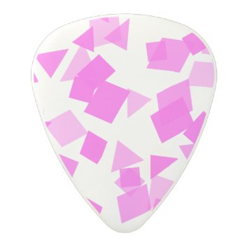 Bright Pink Confetti On White Polycarbonate Guitar Pick by kahmier at Zazzle