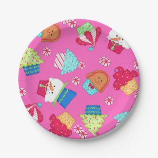 Bright Pink Cupcake Art Christmas Entertaining Paper Plate