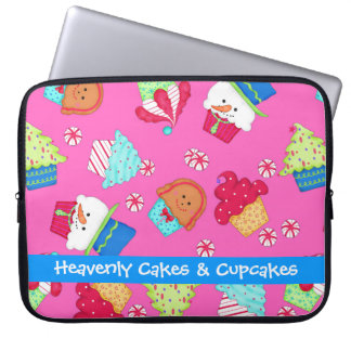 Bright Pink Cupcake Art Christmas Holiday Laptop Sleeve