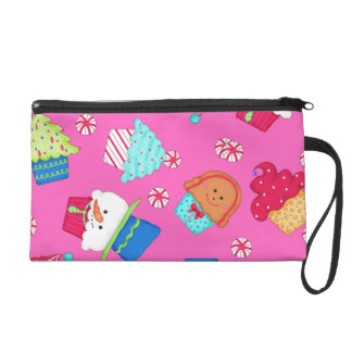 Bright Pink Cupcake Art for Christmas Holiday Wristlets