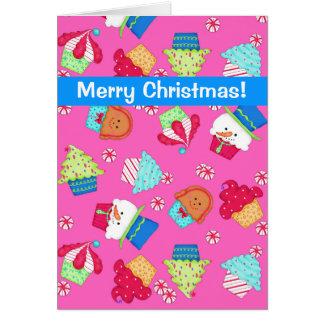 Bright Pink Cupcake Art Merry Christmas Card