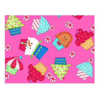 Bright Pink Cupcake Christmas Catering Promotion Postcard