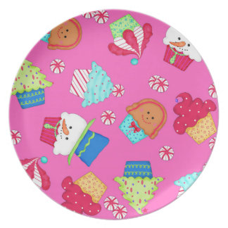 Bright Pink Cupcake Christmas Entertaining Serving Melamine Plate