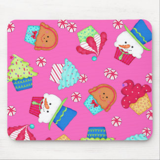 Bright Pink Cupcake Christmas Peppermint Art Mouse Pad