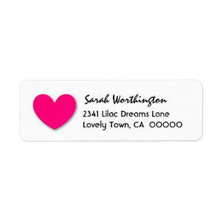 BRIGHT PINK Cute 3D Look Heart A04 Label