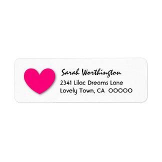 BRIGHT PINK Cute 3D Look Heart A04 Return Address Label