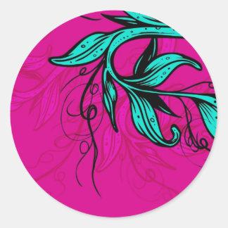 Bright Pink/Cyan Floral Sticker
