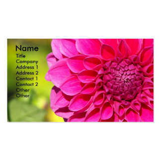 Bright Pink Dahlia Floral Photo Business Card