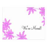 Bright Pink Daisies Change of Address Postcard