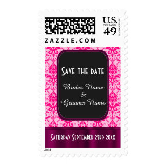 Bright Pink damask save the date Stamp