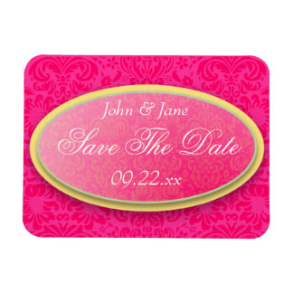 """Bright Pink Damask """"Save The Date"""" Vinyl Magnet"""