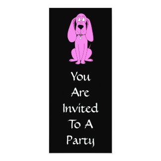 Bright Pink Dog. Hound Cartoon. Card