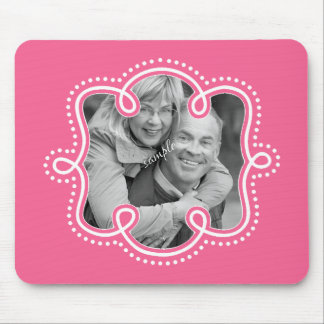 Bright Pink Doodled Frame Photo Mouse Pad