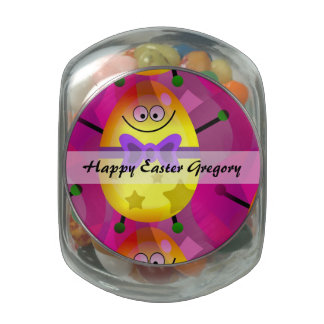 Bright Pink Easter Glass Candy Jar