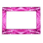 Bright Pink Fern Leaf Pattern. Picture Frame Magnets