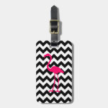 Bright Pink Flamingo Black and White Zigzag Luggage Tag