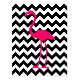 Bright Pink Flamingo Black and White Zigzag Postcard
