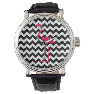 Bright Pink Flamingo Black and White Zigzag Wrist Watch