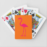 "Bright Pink Flamingo on Orange Bicycle Playing Cards<br><div class=""desc"">Simple bright pink silhouette of a flamingo against plain orange. You can change the background color. If you want to personalize,  try FF0066 for the font color.</div>"