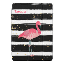 Bright Pink Flamingo Stripes iPad Pro Cover